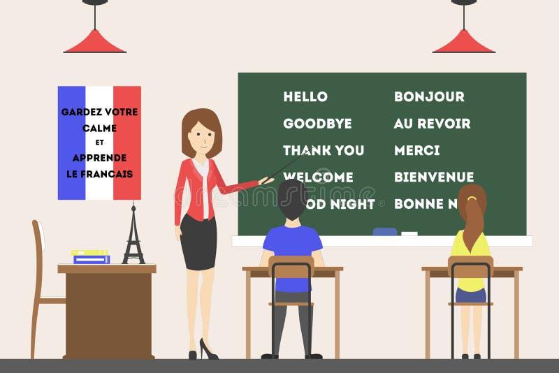 Franse taalcursus vector illustratie