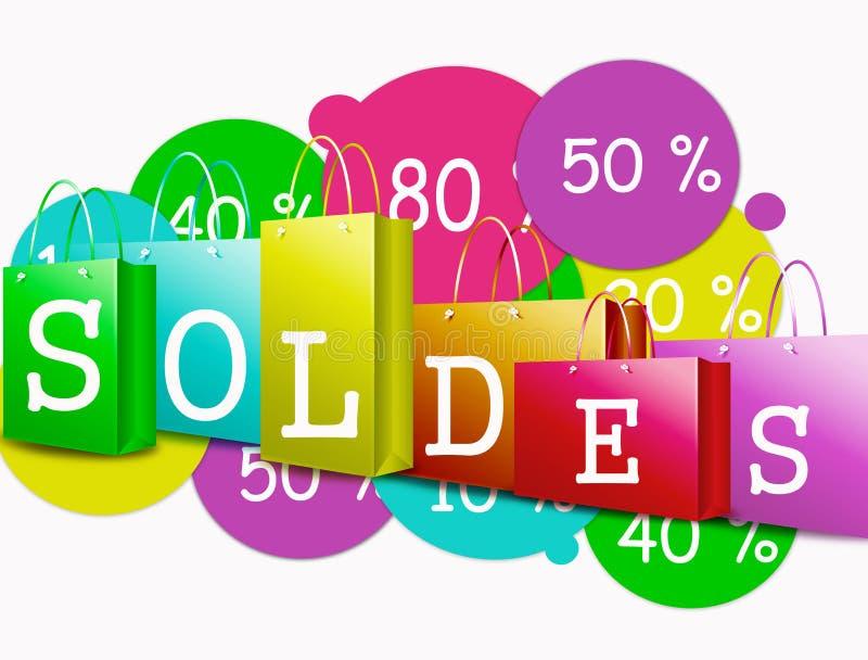 Franse tekst - verkoop stock afbeelding
