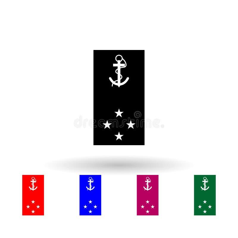 Franse vaklieden en insignia-pictogram met meerdere kleuren Eenvoudige glyph, platte vector van Ranks in de Franse iconen voor ui royalty-vrije illustratie