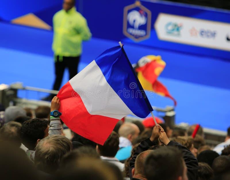 Franse vlag bij voetbalwedstrijd stock foto's