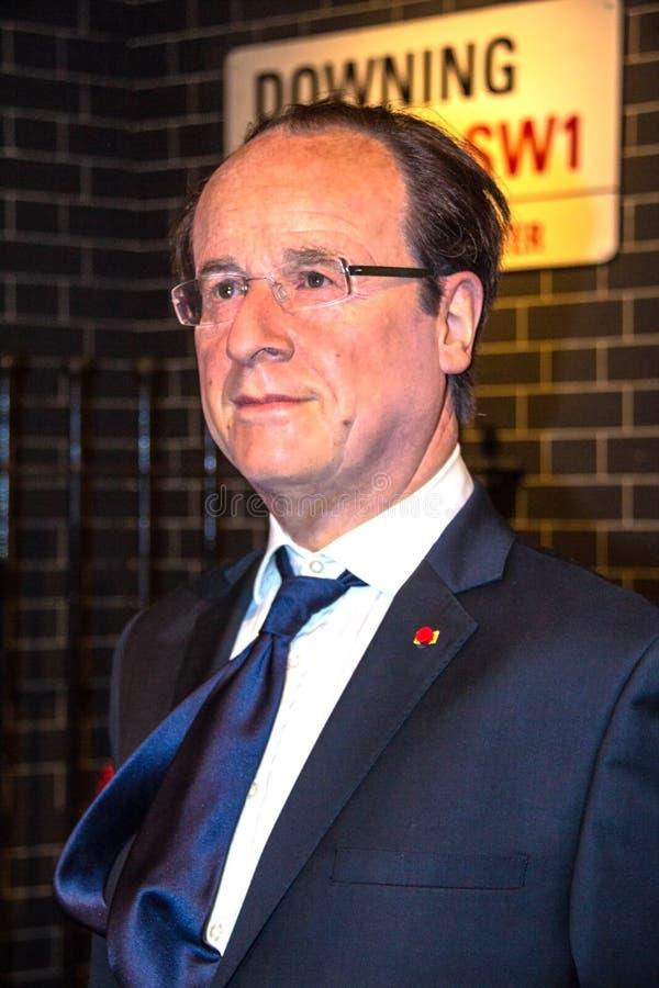 Franse voorzitter Francois Hollande in Mevrouw Tussauds Wax Museum in Londen royalty-vrije stock afbeelding