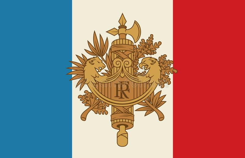 Franse wapenschild en vlag vectorillustratie vector illustratie