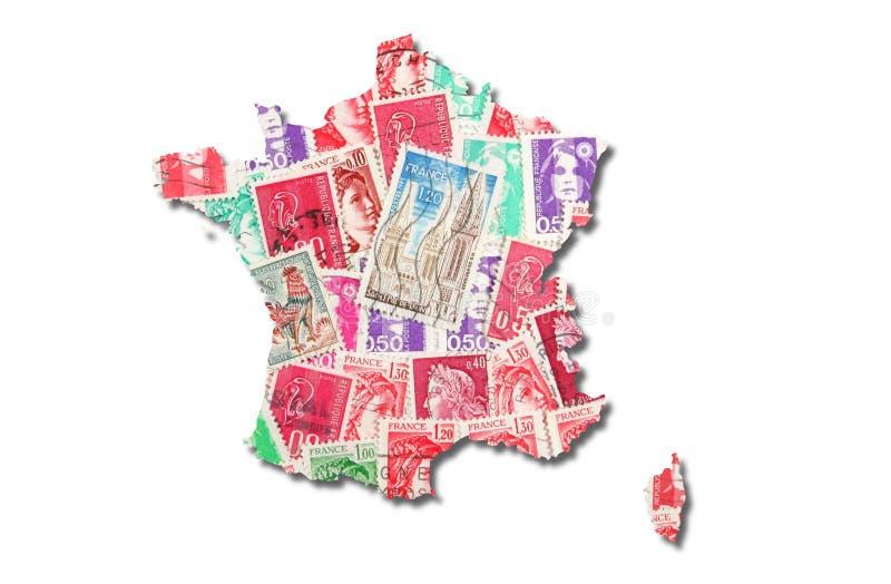 Franse zegels in de vorm van Frankrijk royalty-vrije stock foto