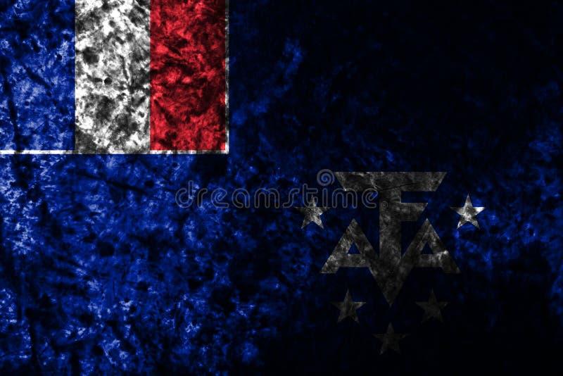 Franse Zuidelijke en Antarctische Land grunge vlag als achtergrond, afhankelijk Frankrijk vector illustratie