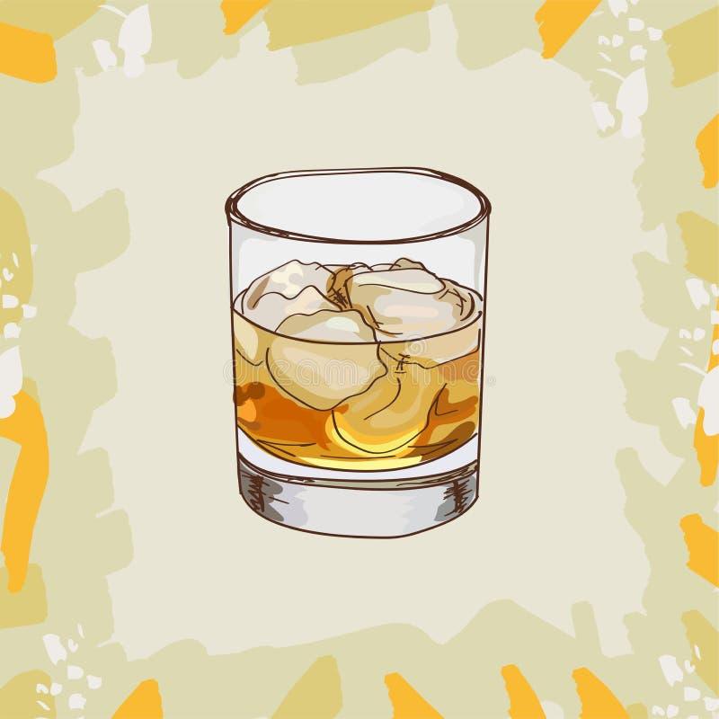 Fransk anslutning, gudfader, Rusty Nail Contemporary klassisk coctailillustration Utdragen vektor för alkoholiserad stångdrinkhan vektor illustrationer