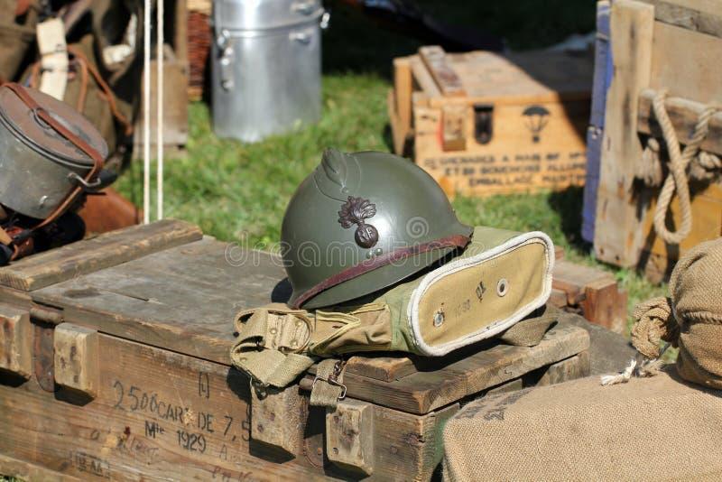 Fransk arméhjälm fotografering för bildbyråer