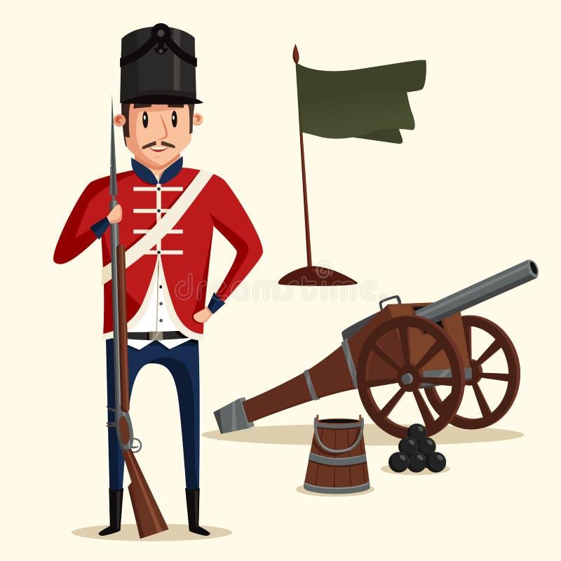 Fransk armésoldat med musköten nära kanonen vektor illustrationer