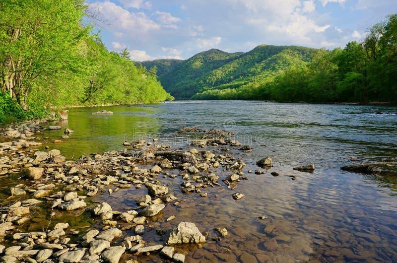 Fransk bred flod i Appalachian berg nära Hot Springs North Carolina royaltyfri foto