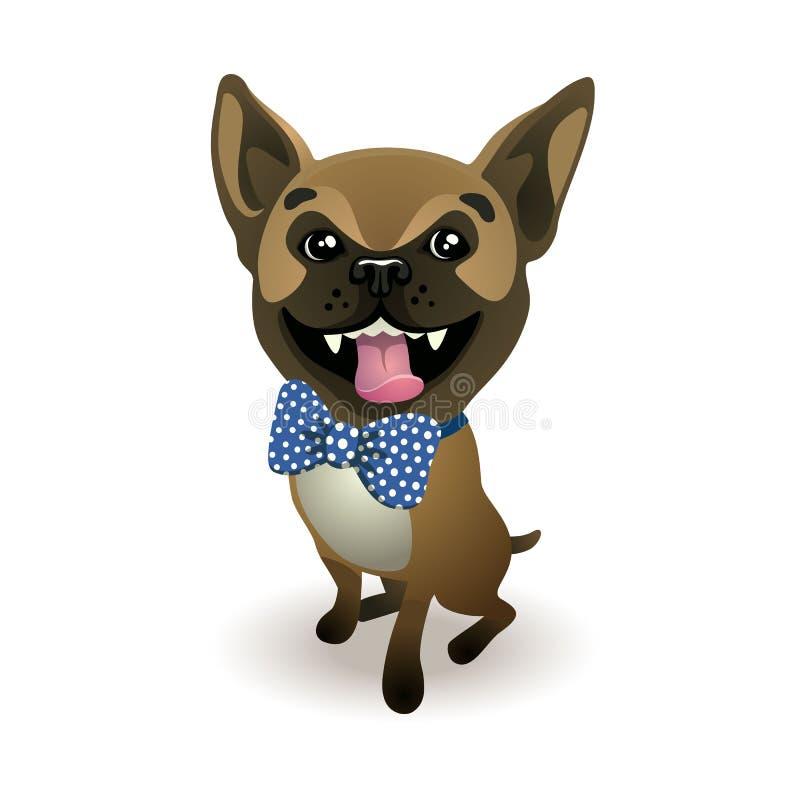 Fransk bulldogg för hundavel iklädd beige fransk bulldogg en blå pilbåge vektor illustrationer