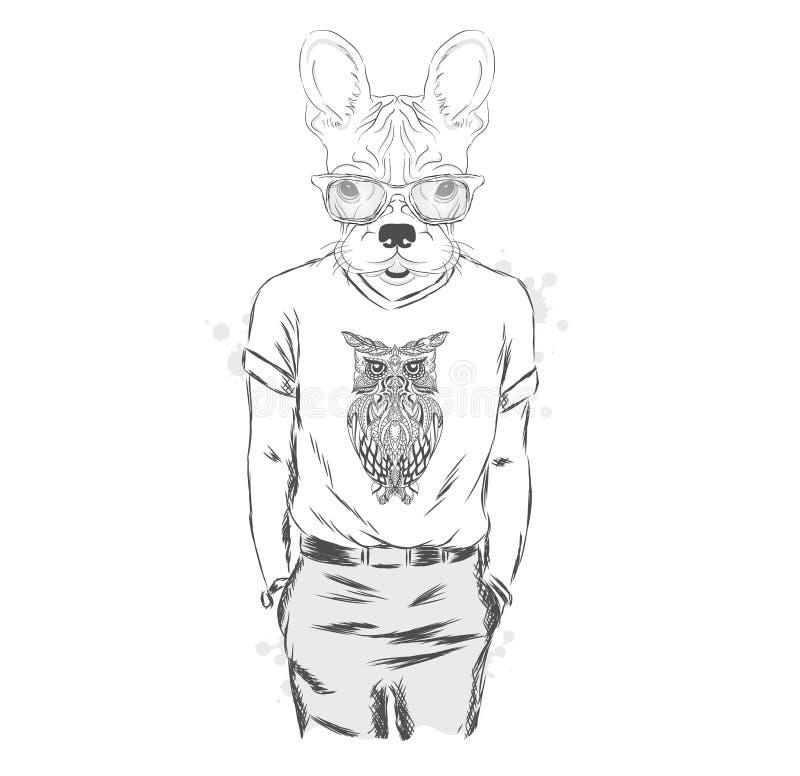Fransk bulldogg - hipster också vektor för coreldrawillustration tryck stock illustrationer