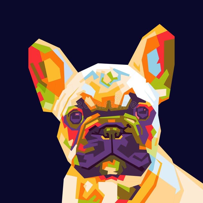 Fransk bulldogg i wpappopkonst royaltyfri illustrationer