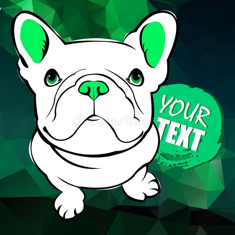 Fransk bulldogg Vektorillustration för ett kort eller en affisch Tryck på kläder gullig valp Rashund royaltyfri illustrationer
