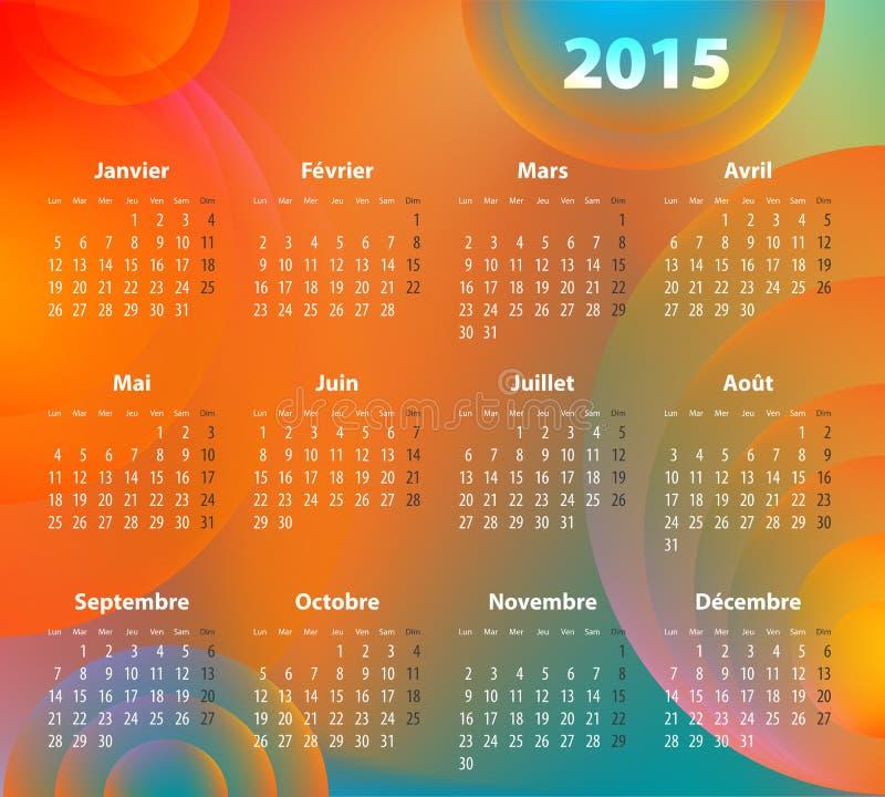Fransk färgrik kalender för 2015 år royaltyfri illustrationer