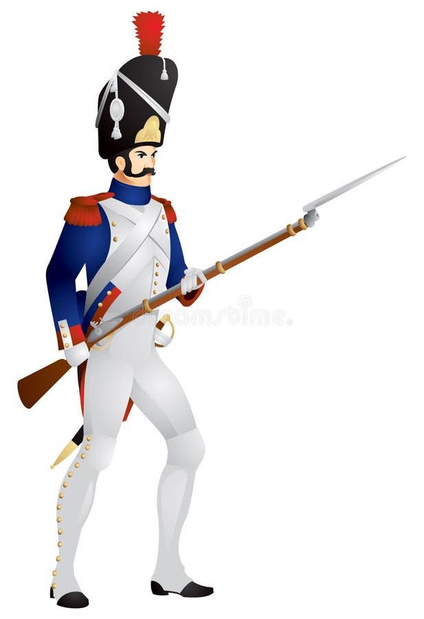 fransk gammal grenadierguard stock illustrationer