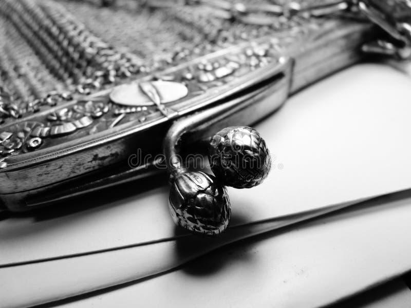 Fransk inristad ingreppshandväska för tappning royaltyfri foto