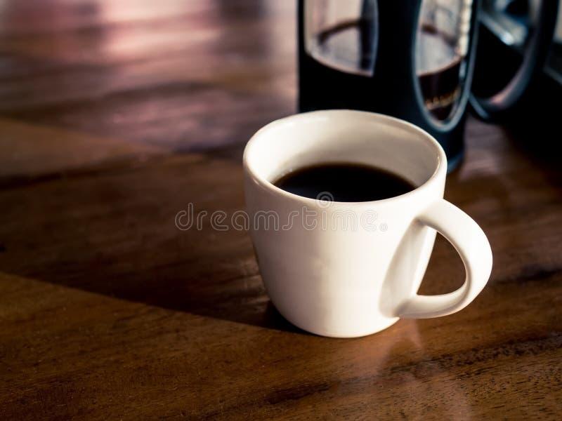Fransk kaffepress med nytt bryggat kaffe royaltyfri fotografi