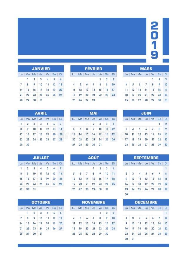 Fransk kalender blåa 2019 stock illustrationer