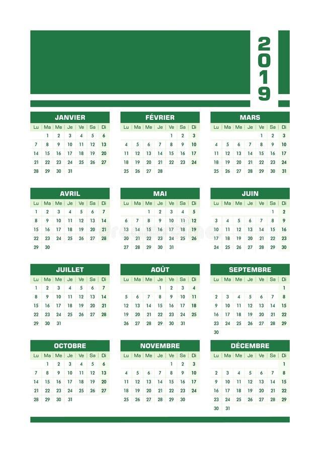 Fransk kalender gröna 2019 royaltyfri illustrationer