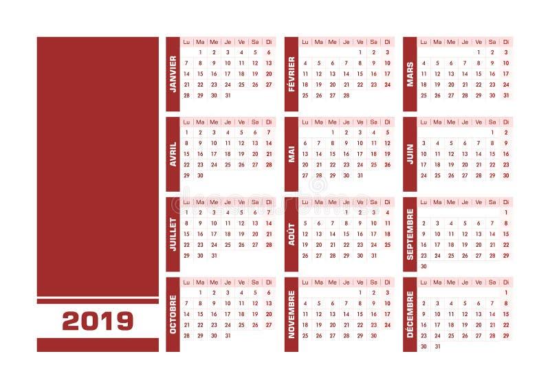 Fransk kalender röda 2019 royaltyfri illustrationer