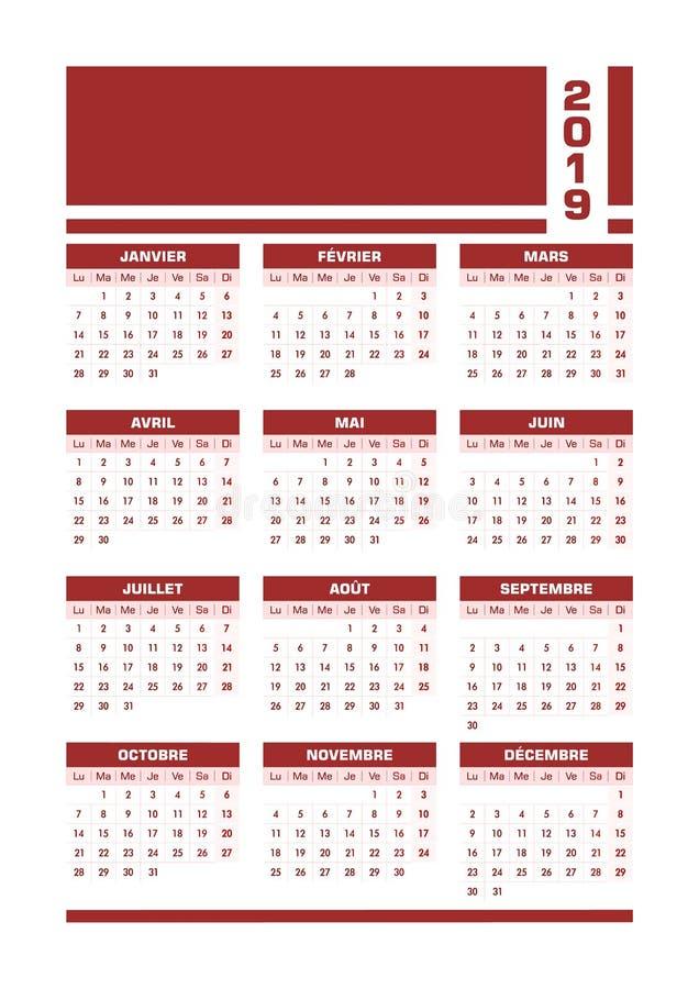 Fransk kalender röda 2019 stock illustrationer