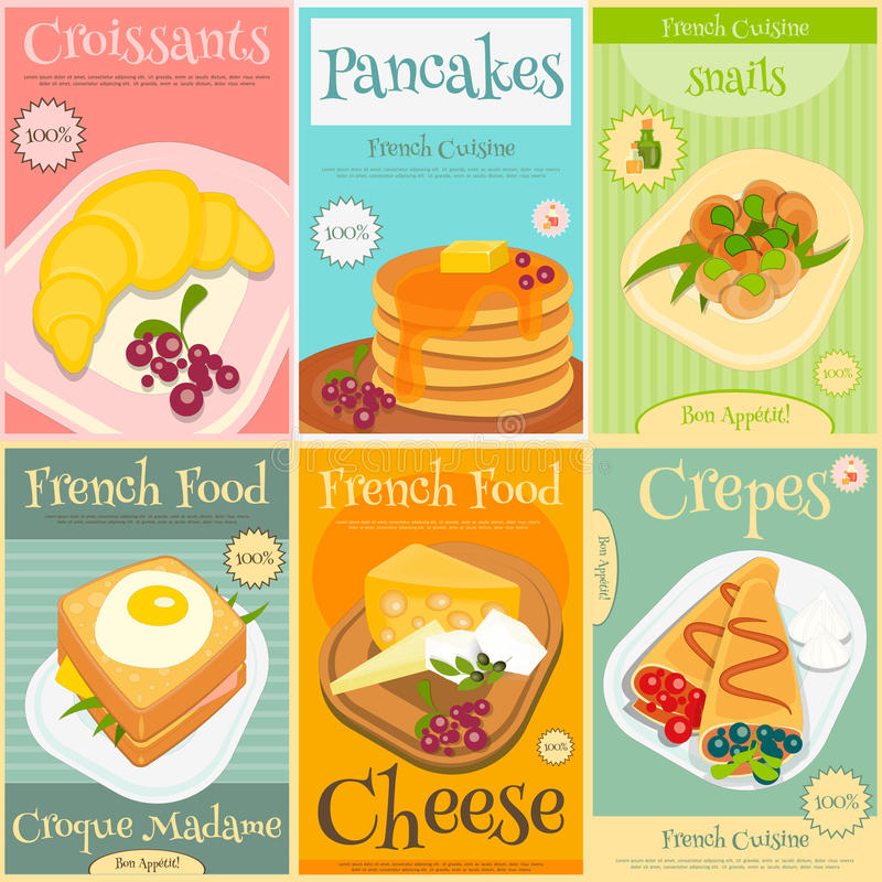 Fransk mat Mini Posters Set stock illustrationer