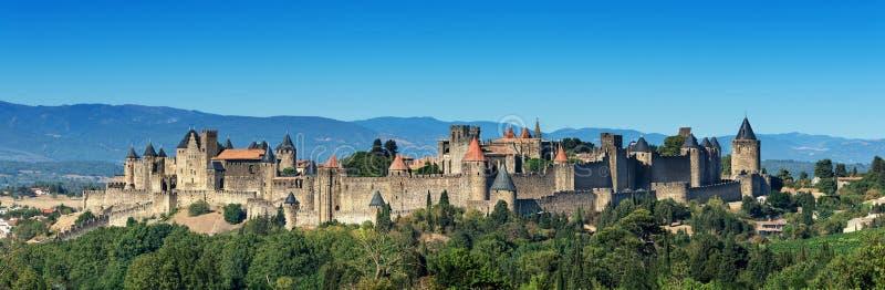 Fransk medeltida Carcassonne fästning royaltyfri bild