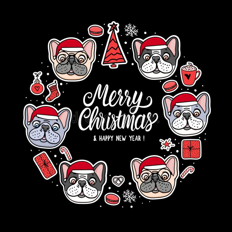 Fransk och amerikansk bulldoggvalp för kort i santa för glad jul hattar Rambokstäver Hand för vektorillustrationhund vektor illustrationer