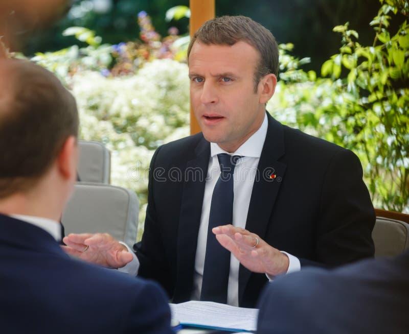 Fransk president Emmanuel Macron arkivfoto