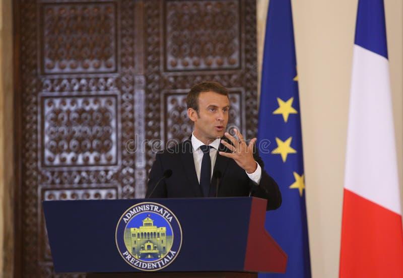 Fransk president Emmanuel Macron royaltyfri foto