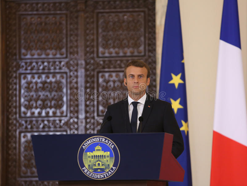 Fransk president Emmanuel Macron arkivbild