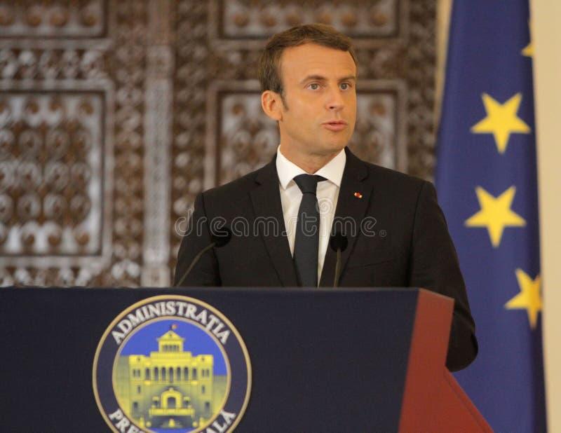 Fransk president Emmanuel Macron royaltyfria foton