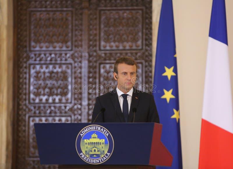Fransk president Emmanuel Macron arkivfoton