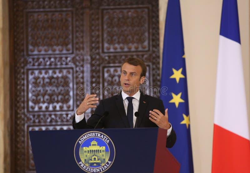 Fransk president Emmanuel Macron royaltyfri bild