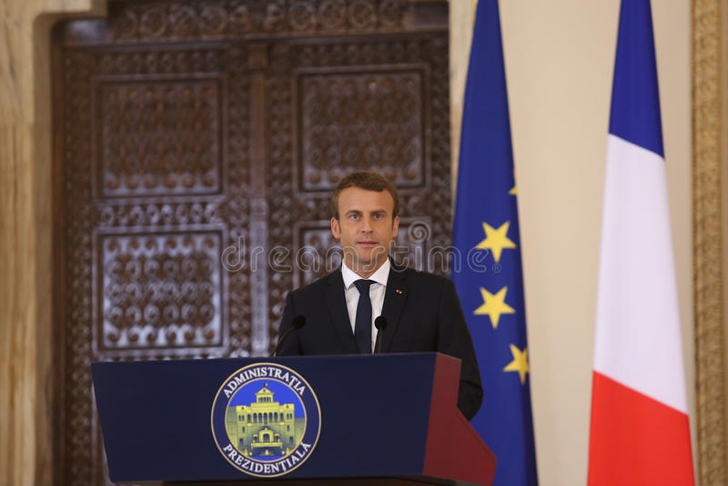 Fransk president Emmanuel Macron royaltyfri fotografi