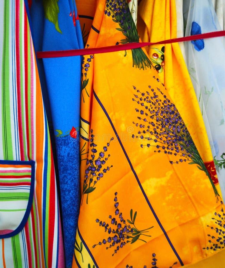 Fransk Provence för färgrikt tyg modell arkivbilder