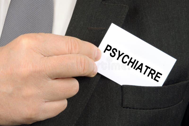 Fransk psykiater Business Card i closeup arkivbilder
