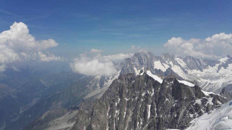 Fransk sida av den Mont Blanc massiven i fjällängarna, Haute-Savoie, Frankrike, Europa royaltyfri foto