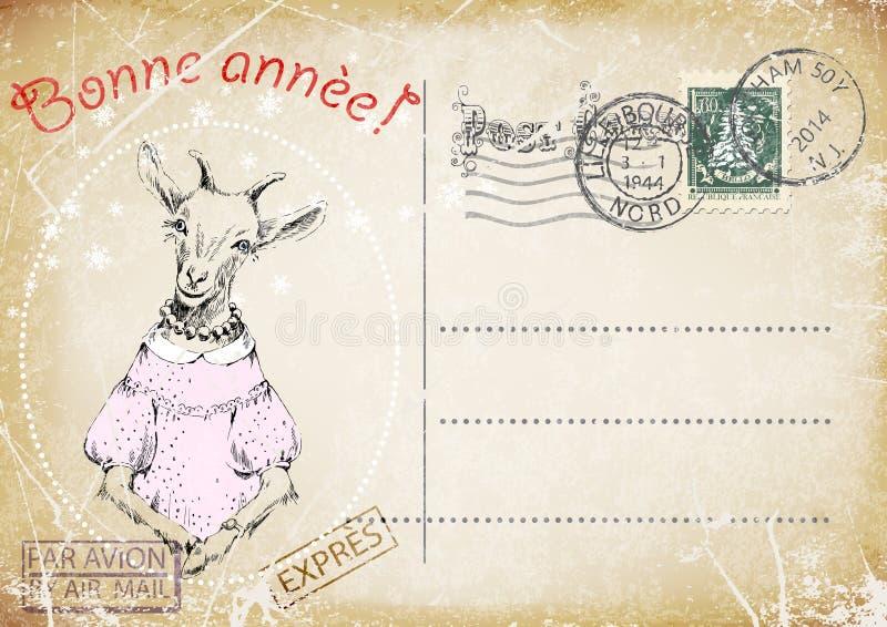 Fransk tappningvykort handteckning av geten lyckligt nytt år illustration stock illustrationer