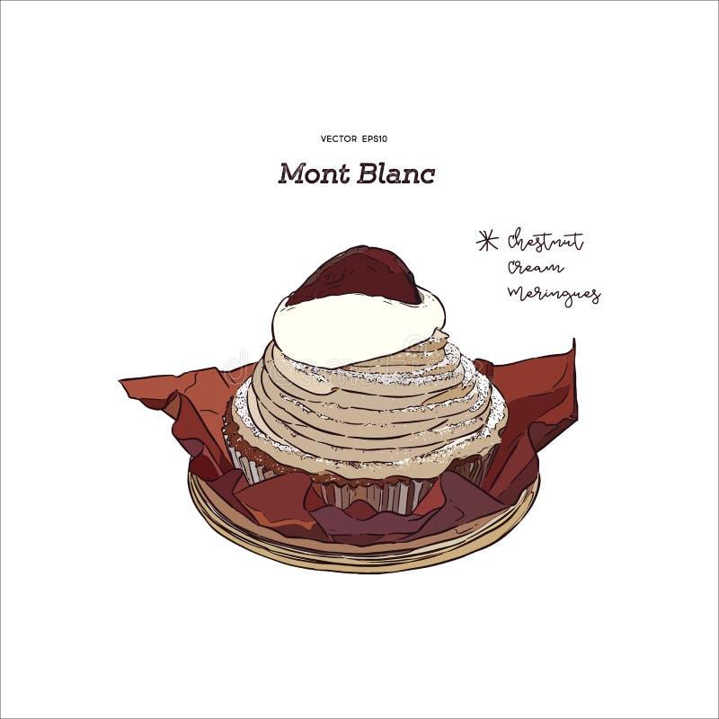 Fransk traditionell kaka`-Mont Blanc ` med kastanjer lagar mat med grädde, haandattraktion skissar vektorn stock illustrationer