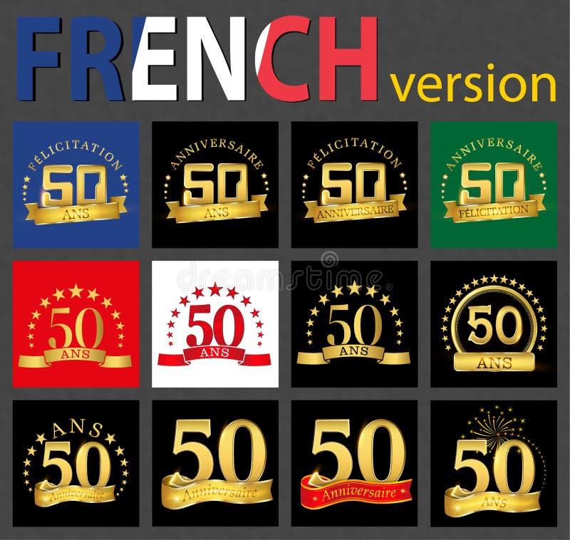Fransk uppsättning av mallar för nummer 50 royaltyfri illustrationer