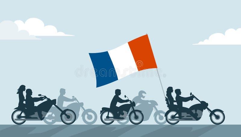 Franska cyklister på motorcyklar med nationsflaggan royaltyfri illustrationer
