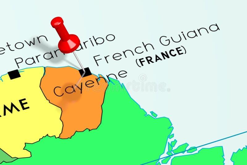 Franska Guyana Cayenne - huvudstad som klämmas fast på politisk översikt vektor illustrationer