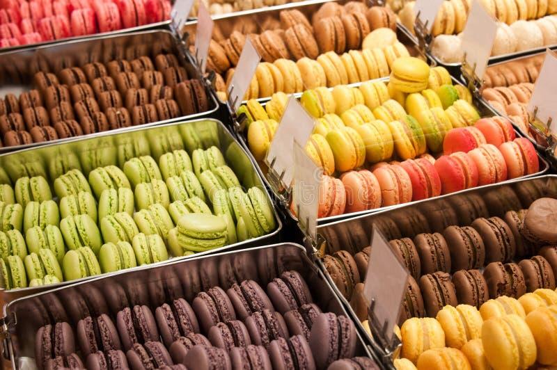 franska macarons arkivfoto