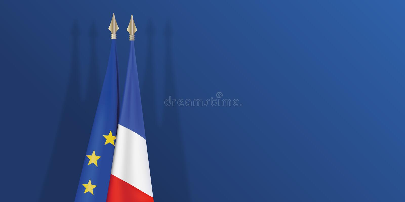 Franska och europeisk flagga på blå bakgrund stock illustrationer
