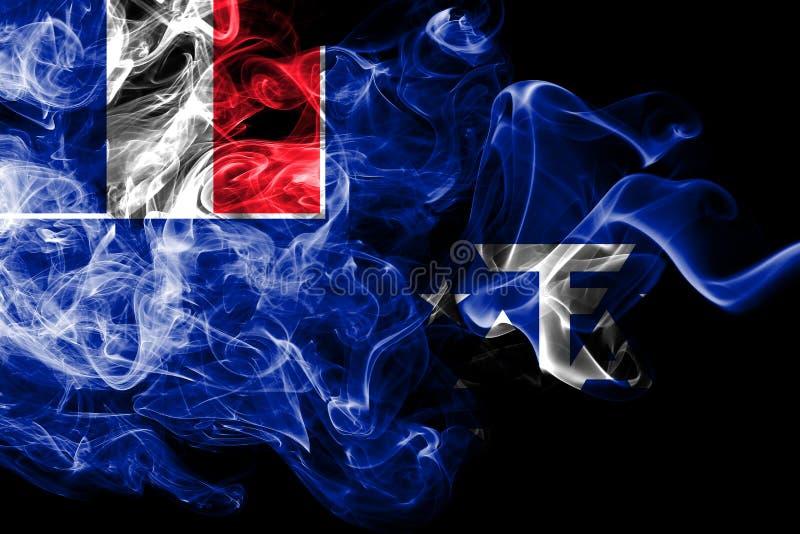 Franska sydliga och antarktiska länder röker flaggan, Frankrike beroende territoriumflagga stock illustrationer