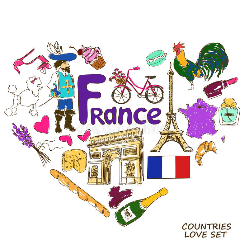 Franska symboler i hjärtaformbegrepp stock illustrationer