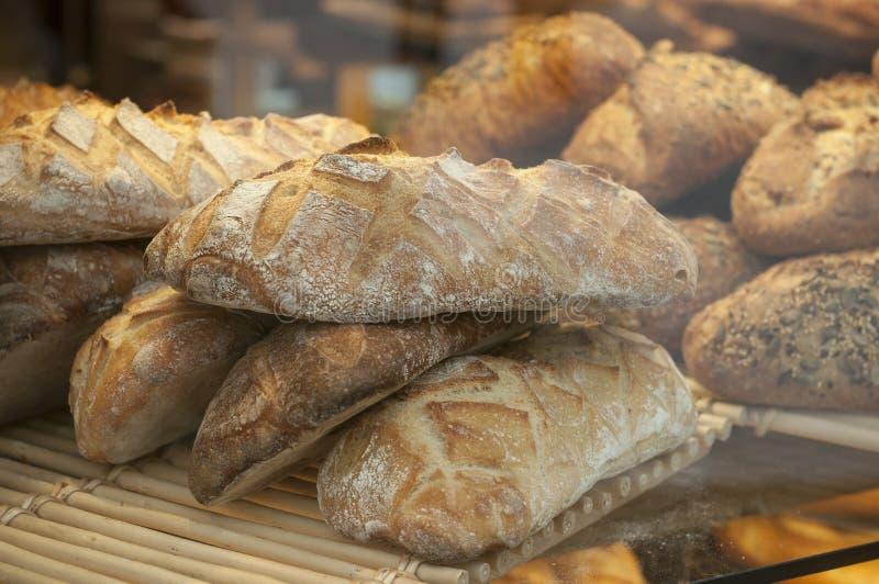 Franska traditionella bröd i bageri royaltyfri foto