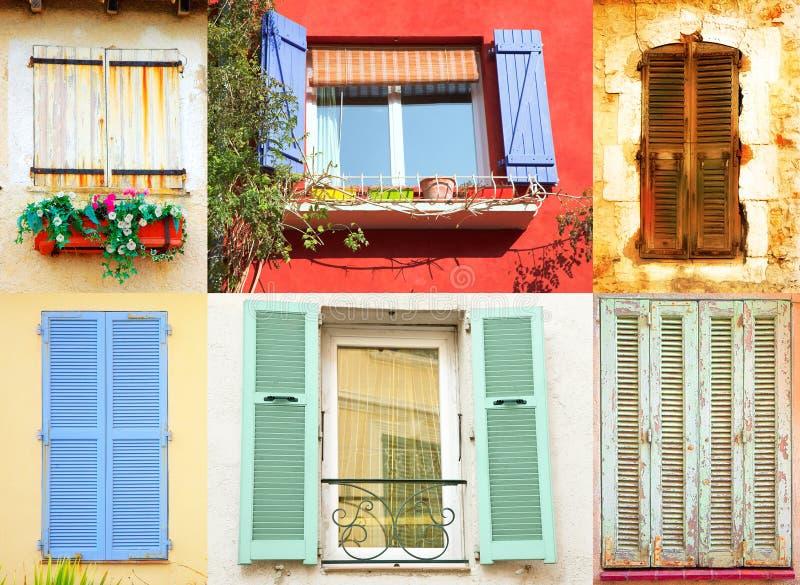 franska traditionella fönster royaltyfri bild