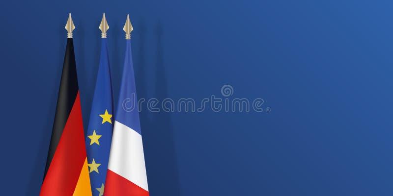 Franska, tysk och europeisk flagga på blå bakgrund stock illustrationer