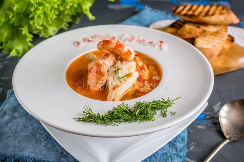 Franskan fiskar soppabouillabaissen med skaldjur, laxfilén, räka, rich anstrykning, läcker matställe i en härlig vit fotografering för bildbyråer